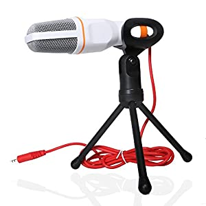 VIMVIP® Condenser Sound Professional 3.5mm Audio Desktop Microphone with Shock Mount Studio Mic for PC Laptop Skype MSN-White