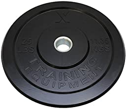 25lb Black Bumper Plate Pair Solid Rubber with Steel Insert - Great for Crossfit Workouts - (2 X 25 lb Pound Plates)