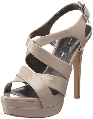Jessica Simpson Women's Endo High Heel Strappy Sandal,Lunar Grey Patent,5 M US