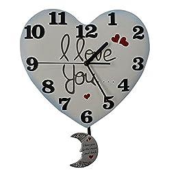 Giftgarden® Heart Shaped Clock I Love You Wall Pendulum Clocks Decorative
