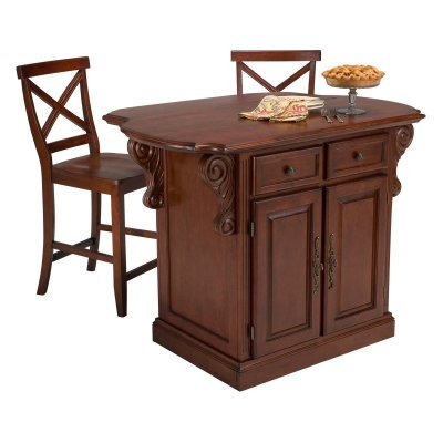 Cheap Home Styles 5005-948 Traditions Kitchen Island with 2 Matching Stool, Cherry Finish (5005-948)