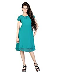 FashionVerb trendy and comfortable Empire style Turquoise Georgette Party wear U-Neck short Puff Sleeve Medium length 1 piece western dress for women