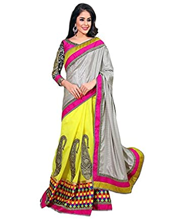 Inddus Exclusive Women Designer Stylish Grey N Yellow Embroidered party Wear Saree available at Amazon for Rs.2550