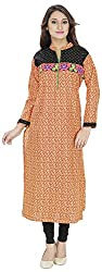 Ada Vastram Women's Cotton Slim Fit Kurta (medium, Orange)