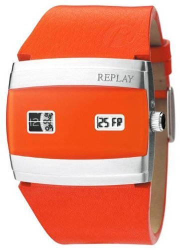Replay Time Herrenuhr RX5101OAD Uhr Lederband Ana/Digi orange