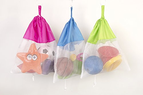 *3 Pack* Large Bath & Beach Toy Organizer Storage Bags for Children *Easy-to-Hang & Easy-to-Clean* Mold & Mildew Resistant + Machine Washable + Guarantee Apple Store Bath