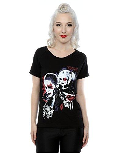 Suicide Squad Donna Harley Quinn Puddin Scollo T-shirt Large Nero