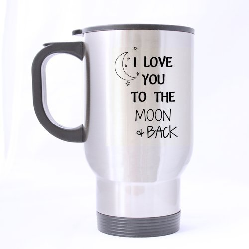 Special Arts - Funny I Love You To The Moon Back About Love Saying Two Sides Designed Stainless Steel Travel Coffee Or Tea Mug - 14 Oz