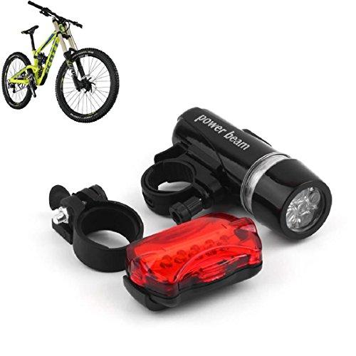 Waterproof 5 Led Bicycle Bike Head Light Torch + 5 Led Rear Flashlight Lamp