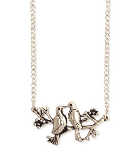 ZAD Super Adorable Love Bird's on Branch Fashion Necklace on Antique Silver Long Chain