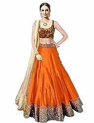 Awesome Fab Orange Colour Bangalori Silk Semi-stitched Embroidered Lehenga Choli