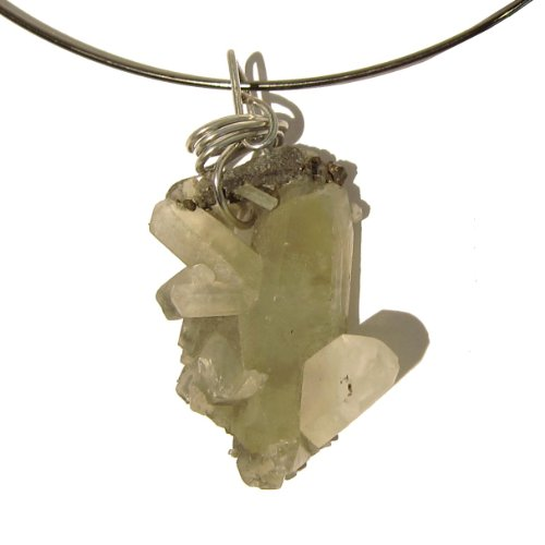 Quartz Necklace 12 Choker Cluster Pyrite Crystal Healing Natural Wire Wrap Gunmetal Rock Gemstone 16