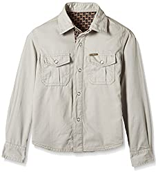 UFO Boys' Shirt (AW16-WF-BKT-502_Gravel and Brown_10 - 11 years)