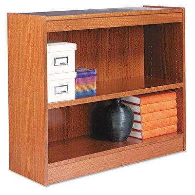 Alera Square Corner Wood Veneer Bookcase, 2-Shelf, 35-3/8w X 11-3/4d X 30h, Medium Oak