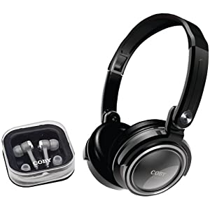 Coby  CV215BLK Deep Bass Stereo Headphones and Earphones (Black) (Discontinued by Manufacturer)