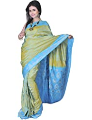 Exotic India Moss-Green And Blue Banarasi Sari With Handwoven Paisleys A - Green
