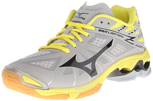 Mizuno Women's Wave Lightning Z WOMS GY-YW Volleyball Shoe, Grey/Yellow, 8 B(M) US