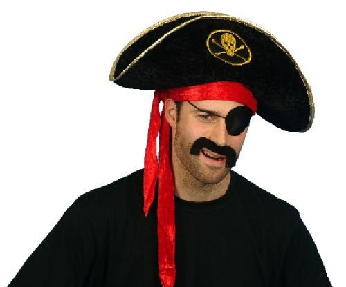 Black Velour Adult Pirate Hat
