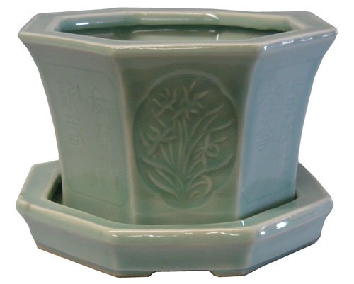 Chinese celadon planter with tray - Four Seasons design