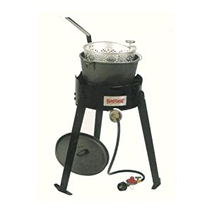 Bayou classic 2474 fish cooker with cast iron for Fish fryer pot