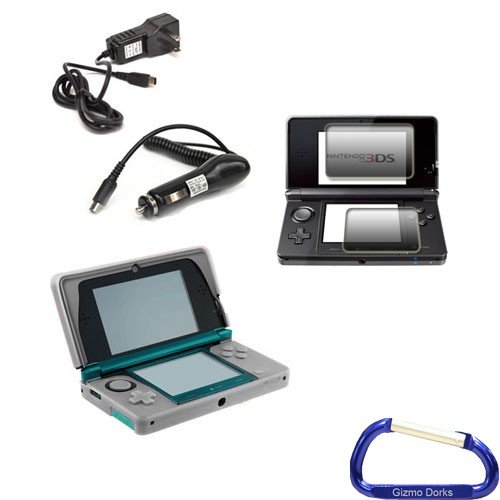 Gizmo Dorks Silicone Case (Clear White) Charging Bundle with Screen Protector and Carabiner Key Chain for Nintendo 3DS