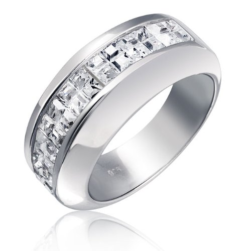 Bling Jewelry Sterling Silver Wedding Band Invisible Cut CZ Unisex Mens Ring