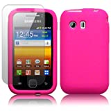 SAMSUNG GALAXY Y S5360 HOT PINK SILICONE SKIN CASE / COVER / SHELL + SCREEN PROTECTOR PART OF THE QUBITS ACCESSORIES RANGEby Qubits