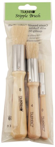 Tsukineko 3-Pack Stipple Brush, Size 0, 4 and 8
