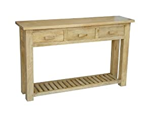 Homescapes - Mangat - Large Console Table - 100% Mango Wood - Oak Shade - 135 x 35 x 85 cm - With 3 Drawers and a Storage Shelf