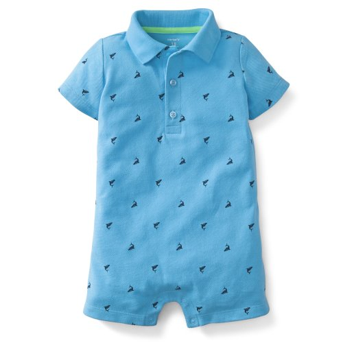 Carter'S Baby Boys Pique Printed Romper (12 Months, Blue) front-12332