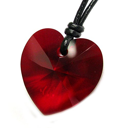 Swarovski Elements Crystal Siam Red Love Heart Pendant Adjustable Waxed Cotton Choker Necklace