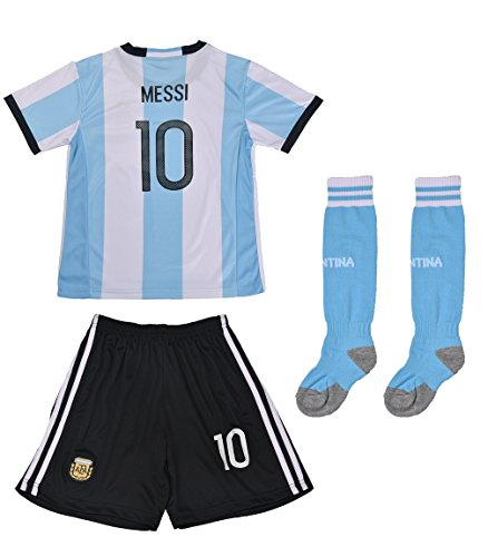 FWC 2016 Argentina Home Messi 10 Futbol Football Soccer Kids Jersey & Short (10-11 years) (Football Messi compare prices)
