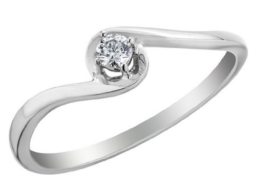 Diamond Promise Ring in 10K White Gold, Size 9