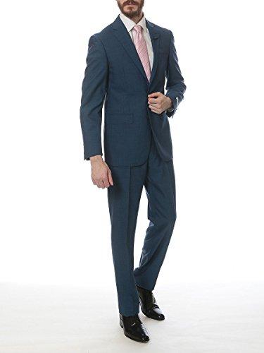 (カルバンクライン) Calvin Klein ウール100% ストライプ シングル 2ツ釦 ノータック スーツ [【CKMBYR25FY0328】] ブルー / 48 [並行輸入品]