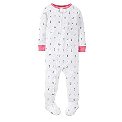 Carters Toddler Girls 1-Piece Pajamas Footed Snug Fit Cotton PJs (5t, Ivory/Anchors)