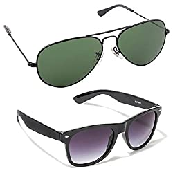 Magjons Combo of Green Aviator & Black Wayfarer Sunglasses Set Of 2 (With Box)