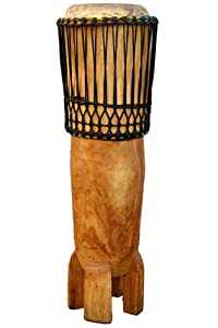 "African Hand-carved Ngoma Drum - 11"" X 42"" - Congo Style"