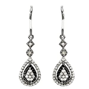 0.60 Carat (ctw) Sterling Silver Round Black & White Diamond Ladies Dangling Drop Earrings