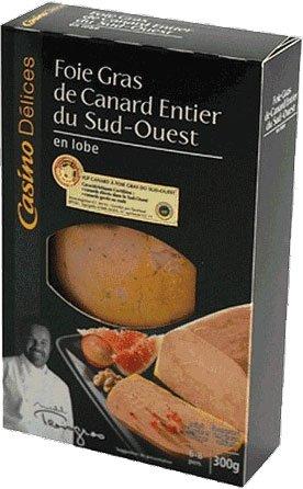 French Whole Duck Foie Gras South West (Lobe) Casino Delices-Foie Gras De Canard Entier Du Sud Ouest (En Lobe) - 10,58 Oz - 6 Serves