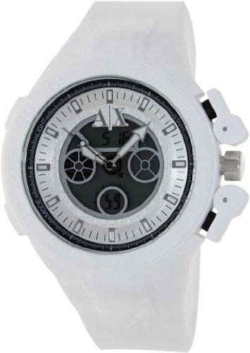 Armani Exchange Men's AX1280 White Silicone Quartz Watch with Silver Dial