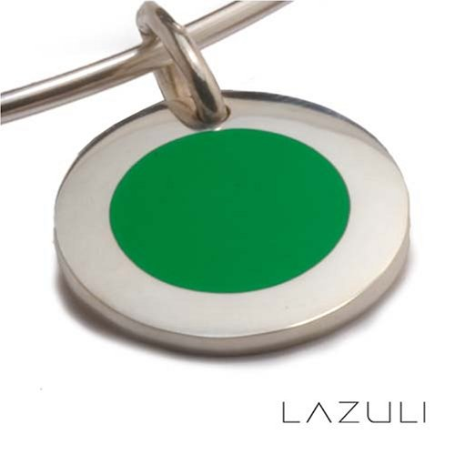 Sterling Silver Small Round Disc Green Gumball Pendant