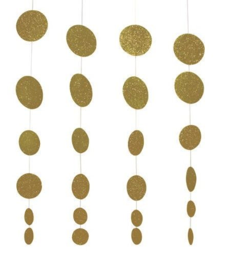 Creative Converting Glitz Gold Hanging Décor, Diecut Glitter Circle Garland, 4 Strands Per Package - 1