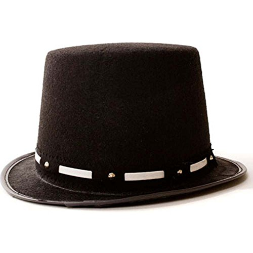 Kids Black Tuxedo Top Hat with Silver Band