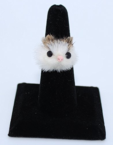 #3 Furry Animal Ring Adjustable Size - Furry Tri-Color Cat Face - 1