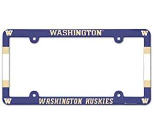 Buy NCAA Washington Huskies 6x12 Plastic Full Color License Plate Frame by WinCraft