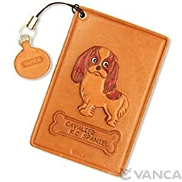 Cavalier King Charles Spaniel Leather Dog Pass/ID/Credit/Card Holder/Case *VANCA* Handmade in Japan