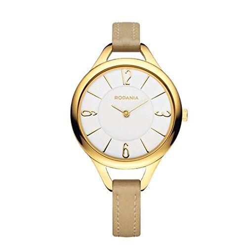 RODANIA Women's Strada Cylia 32mm Beige Leather Band Steel Case Quartz White Dial Analog Watch 26089.31