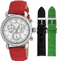 Sartego Unisex Watch with 100 Diamond Bezel White Dial Leather Band