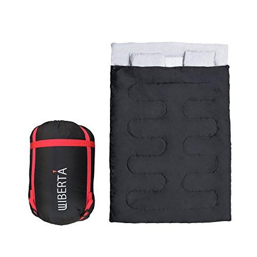 [リベルタ]LIBERTA 2人用 寝袋 シュラフ スリーピングバッグ 封筒型 丸洗い 最低使用温度-5度 収納袋 枕付き ブラック
