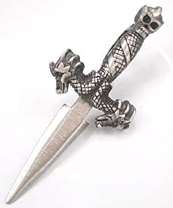 Dragon Heads Skull Dagger Blade Pewter Pendant Necklace